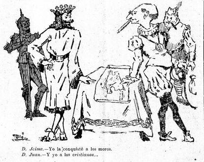 """Caricatura de la revista 'Baleares' publicada el 20 de octubre de 1918 en la que sobre un mapa de Mallorca Jaime I dice: """"Yo la conquisté a los moros"""". Juan March replica: """"Y yo a los cristianos..""""."""
