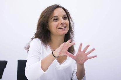 La secretaria general del PSOE-M, Sara Hernández, el jueves en la sede del partido.