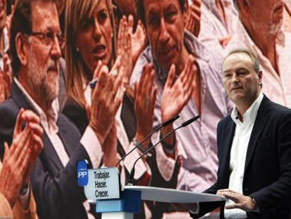 El presidente del PP de la Comunidad Valenciana, Alberto Fabra, durante su intervención en el acto de Alicante.