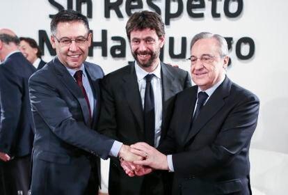 Bartomeu, Agnelli y Florentino Pérez, durante un acto en Madrid hace tres años.