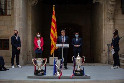 El presidente del Barcelona, Joan Laporta, en el reconocimiento de la Generalitat al equipo femenino azulgrana, tras ganar la Liga, la Copa y la Champions.