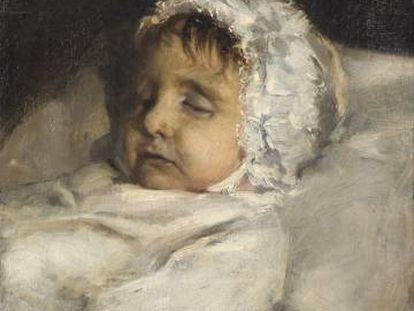 Cabeza de niña sobre lecho, de Joaquin Sorolla.