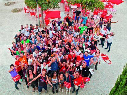 Participantes en el Campus Gira, un campamento de cuatro días.