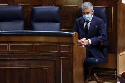 El ministro del Interior, Fernando Grande-Marlasca, durante una sesión de control de gobierno en el Congreso este miércoles.