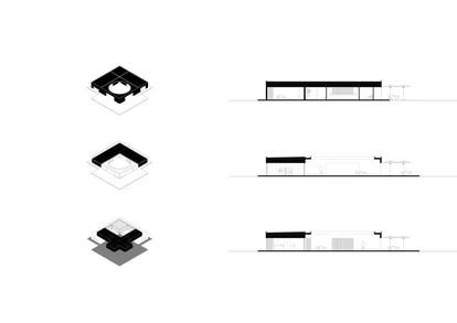 Maqueta del inmueble que está formado por tres espacios principales: una estancia, una coqueta cafetería, y un punto de encuentro marcado por un techo ovalado y abierto.