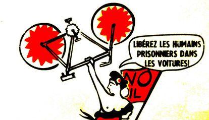 Marianne, símbolo de la República Francesa, hace un llamamiento para liberar a los humanos, que están prisioneros en sus coches