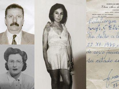 El doctor Jorge Bergés, la partera Juana Elena Franicevich (a la izquierda), Leonor Larrazano (en el medio) en 1969 y un certificado de parto emitido por la clínica.