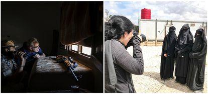 El corresponsal de EL PAÍS en el Magreb, Francisco Peregil, en el frente de Libia, cerca del aeropuerto de Trípoli; a la derecha, la enviada especial a Oriente Próximo Natalia Sancha, en el campo de refugiados de Al Hol (Siria). / CARLOS ROSILLO / MAHMOUD SHEIKH