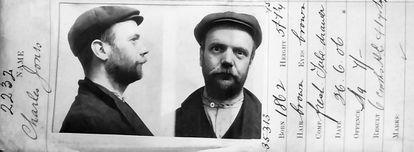 Ficha policial de 1906 de Charles 'Coaly' Jones, uno de los líderes y de los tipos más peligrosos de la banda de los Sheldon.