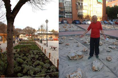 A la izquierda, la Plaza del Pueblo de Orcasitas, en el distrito de Usera, recién reformada en 2007. A la derecha, un vecino de la plaza muestra la 'intervención' de los vecinos en los parterres, de los que han arrrancado las plantas para poner en su lugar grandes piedras.