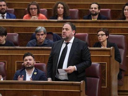 Oriol Junqueras, el pasado martes en el Congreso. En vídeo, declaraciones de Junqueras tras conocerse la decisión de la Mesa, este viernes.