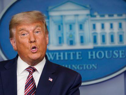 Trump, durante la conferencia de prensa de este jueves.