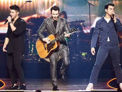 Desde la izquierda: Nick, Joe y Kevin Jonas, este domingo en Madrid.