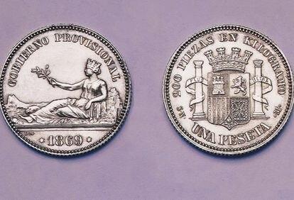 Imagen de la primera peseta emitida en 1869.