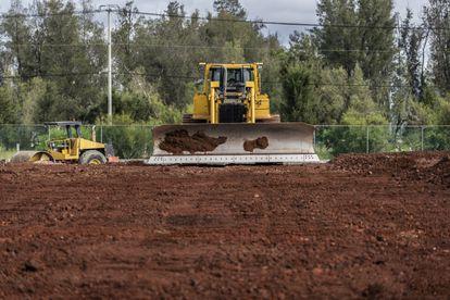 Obras de construcción de un vivero en el Parque Ecológico de Texcoco.