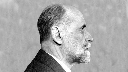 Retrato de perfil de Juan Ramón Jiménez
