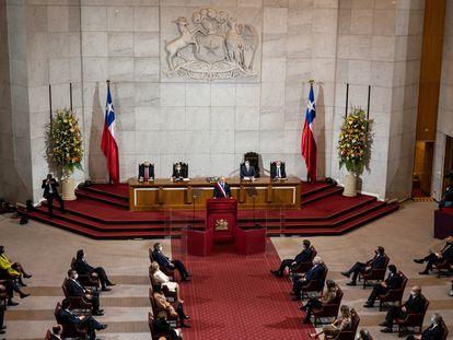 Sebastián Piñera, presidente de Chile, durante su discurso ante el Congreso, el pasado 31 de julio.