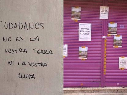 Pintadas y carteles, colocados por los independentistas en el negocio de los padres de Albert Rivera.