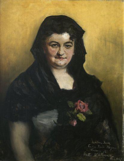 Retrato de Emilia Pardo Bazán de Gustav Wertheimer (1887).