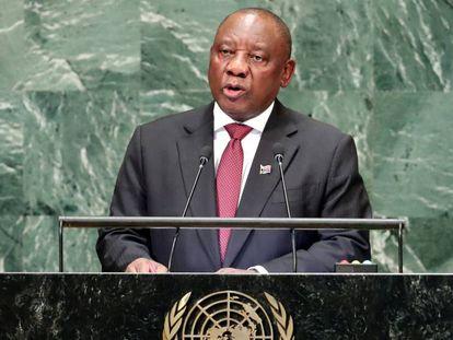 El presidente sudafricano, Cyril Ramaphosa, el martes en la ONU.