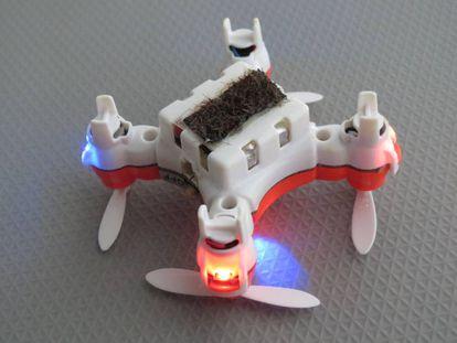Dron con el pelo de abeja utilizado en proyectos de polinización de flores.