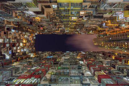 Vista de un edificio en Hong Kong
