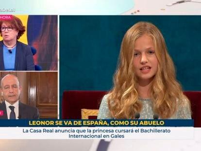 Captura de pantalla del programa 'La hora de La 1' con el rótulo sobre la princesa Leonor.