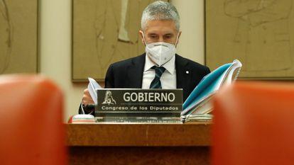 El ministro del Interior Fernando Grande-Marlaska, el jueves durante su comparecencia en la Comisión de Seguridad Vial del Congreso de los Diputados.