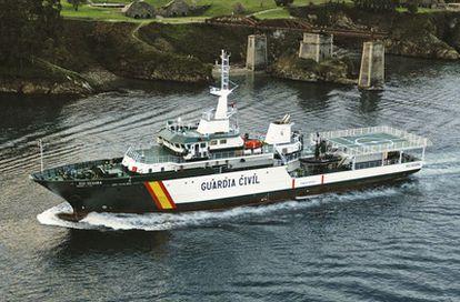 El barco de la Guardia Civil <i>Río Segura,</i> presentado hoy en Cádiz.