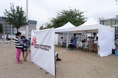 Puesto de Médicos Sin Frontera en el campamento de Reynosa.