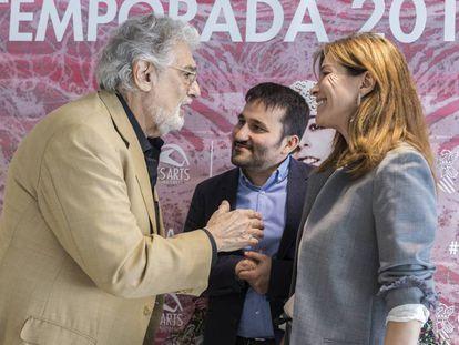 Plácido Domingo, Vicent Marzà y Susana Lloret en el acto de presentación del Patronato de Les Arts.