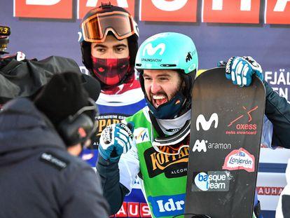Lucas Eguibar celebra su triunfo en el mundial, en Idre Fjall (Suecia)