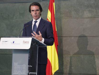 El expresidente José María Aznar, en un acto en 2017.
