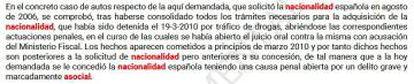 Una de las sentencias de 2016 de la Audiencia Nacional que anula la nacionalidad de la demandada.