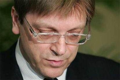El primer ministro belga, Guy Verhofstadt, ayer en Bruselas.