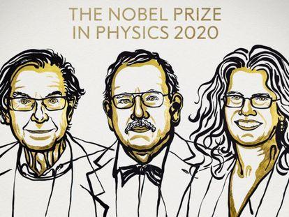Roger Penrose, Reinhard Genzel y Andrea Ghez, ganadores del Nobel de Física de este año.