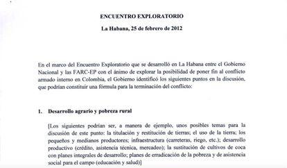 El encabezamiento del primer documento de las negociaciones de La Habana.