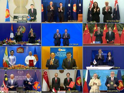 Videoconferencia para la firma del tratado de constitución de la RCEP, la mayor alianza de libre comercio del mundo.