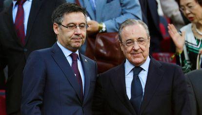 Josep Maria Bartomeu y Florentino Pérez, durante un Barcelona-Real Madrid.