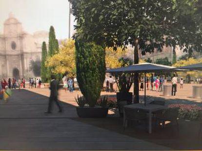 Recreación de una de las zonas de la plaza de la Reina tras la reforma.