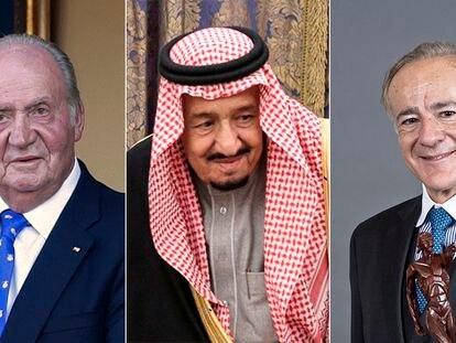Desde la izquierda, el rey Juan Carlos I, el rey de Arabia Saudí, Abdalá Bin Abdulaziz, y Allen Sanginés-Krause.