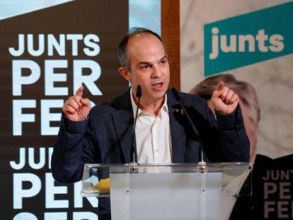 El 'exconseller' y preso del 'procés' Jordi Turull en un acto de campaña de JxCat en Reus (Tarragona) antes de las elecciones catalanas el pasado febrero.