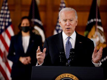 El presidente de Estados Unidos, Joe Biden, pronuncia un discurso en Atlanta, Georgia, Estados Unidos, el pasado 19 de marzo.