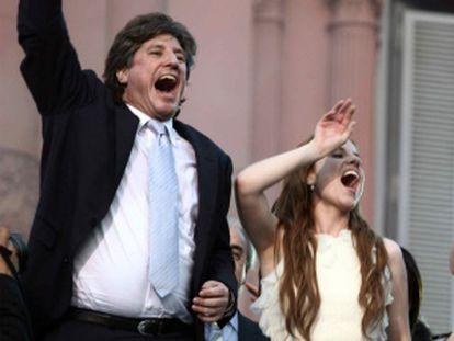 Boudou, junto a su novia, en la toma de posesión de la presidenta, en 2011