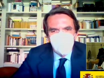 José María Aznar, durante su declaración como testigo en el juicio por la caja b del PP, este miércoles.