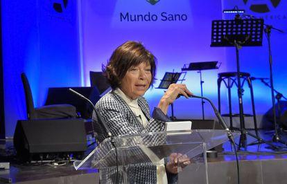 Silvia Gold, durante una charla sobre Chagas.