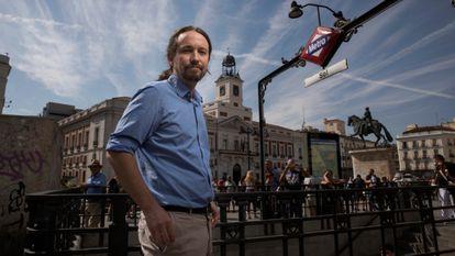 Pablo Iglesias, en la Puerta del Sol (Madrid).