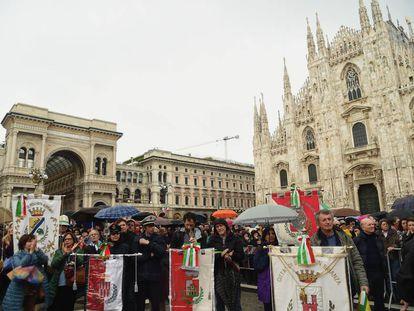 Plaza del Duomo en Milán el 25 de abril de 2019.
