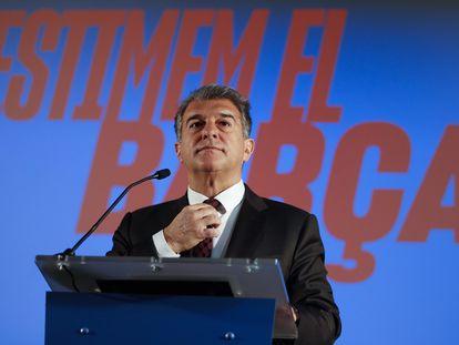 El candidato a la presidencia del FC Barcelona Joan Laporta, este jueves.