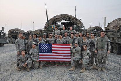 Soldados de la segunda división de infantería, a su llegada a Kuwait procedentes de Bagdad. Forman parte de la última brigada de combate que ha servido en Irak.